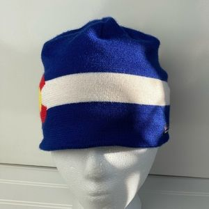 Patagonia Blue Colorado Beanie Hat with Red C